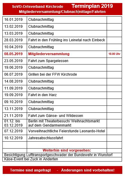 Sovd Hannover Stadt Veranstaltungen 2019